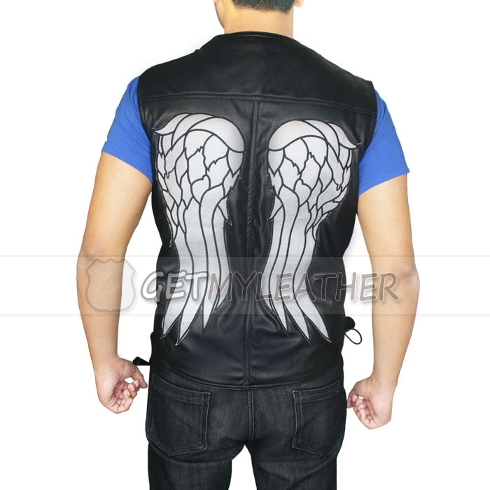 The Walking Dead Angel Daryl Dixon Leather Vest getmyleather