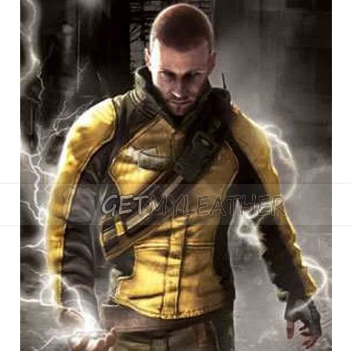 Cole MacGrath InFamous Black and Yellow leather Jacket