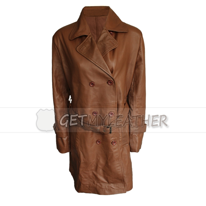 Women Brown Front button leather Coat Custom Design 42
