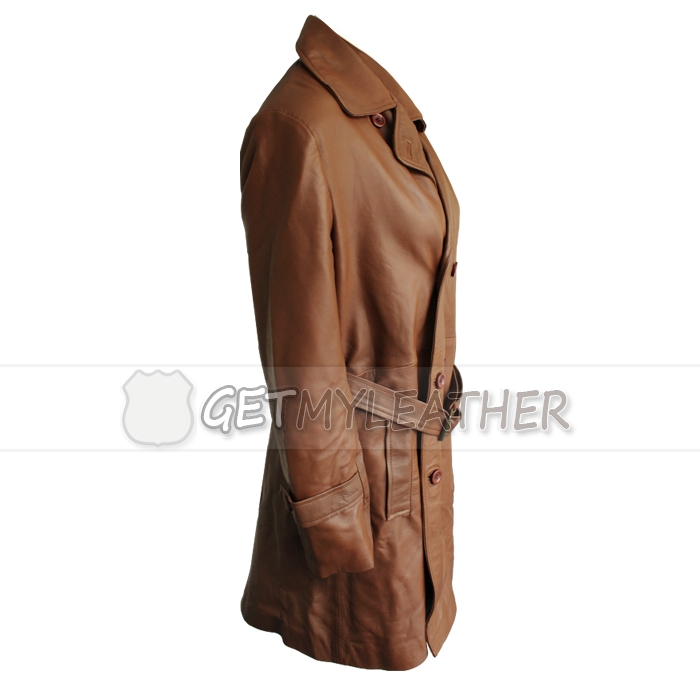 Women Brown Front button leather Coat