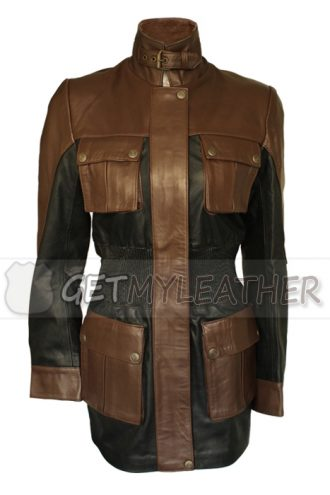 Women Button And Black leather Jacket