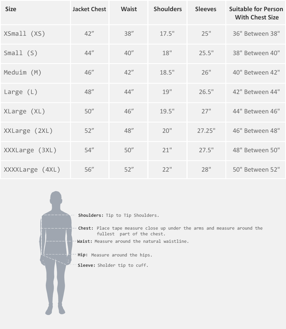 Men Size Chart Measurements in inches