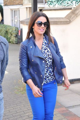 Susanna Reid Blue Leather Jacket at London Studio
