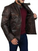 Tom Cruise Distressed Brown Leather Jacket
