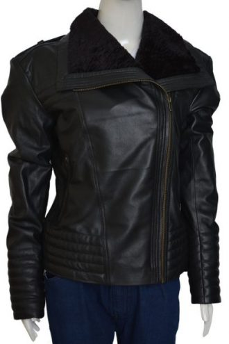 Asymmetrical Style Shawl Collar Black Leather Jacket