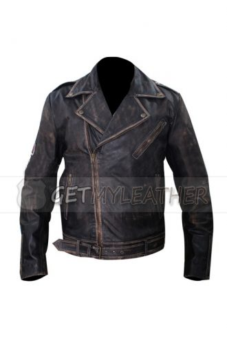 Johnny Depp Distressed Bikers Leather Jacket