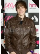 Justin Bieber Bomber Brown Leather Jacket