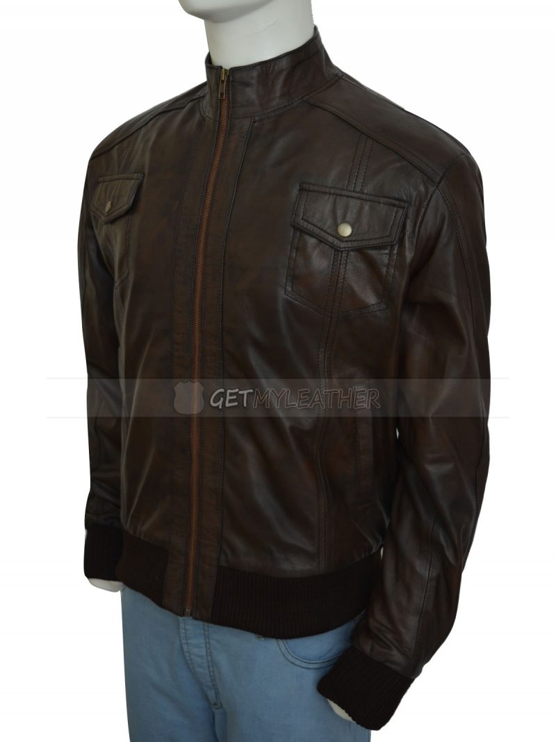 Justin Bieber Brown Bomber Leather Jacket