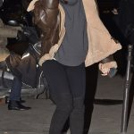 Rihanna Paris Dinner Brown Fur Leather Jacket