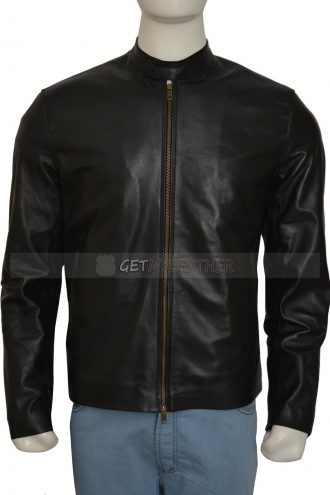 Chris Brown black Leather Jacket