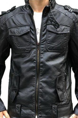 Motorcycle Black Leather Jacket For Men