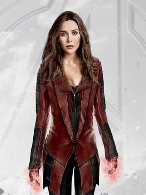 Captain America Civil War Scarlet Witch Red Leather Coat