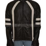 Men's Black And White Distressed Leather Jacket