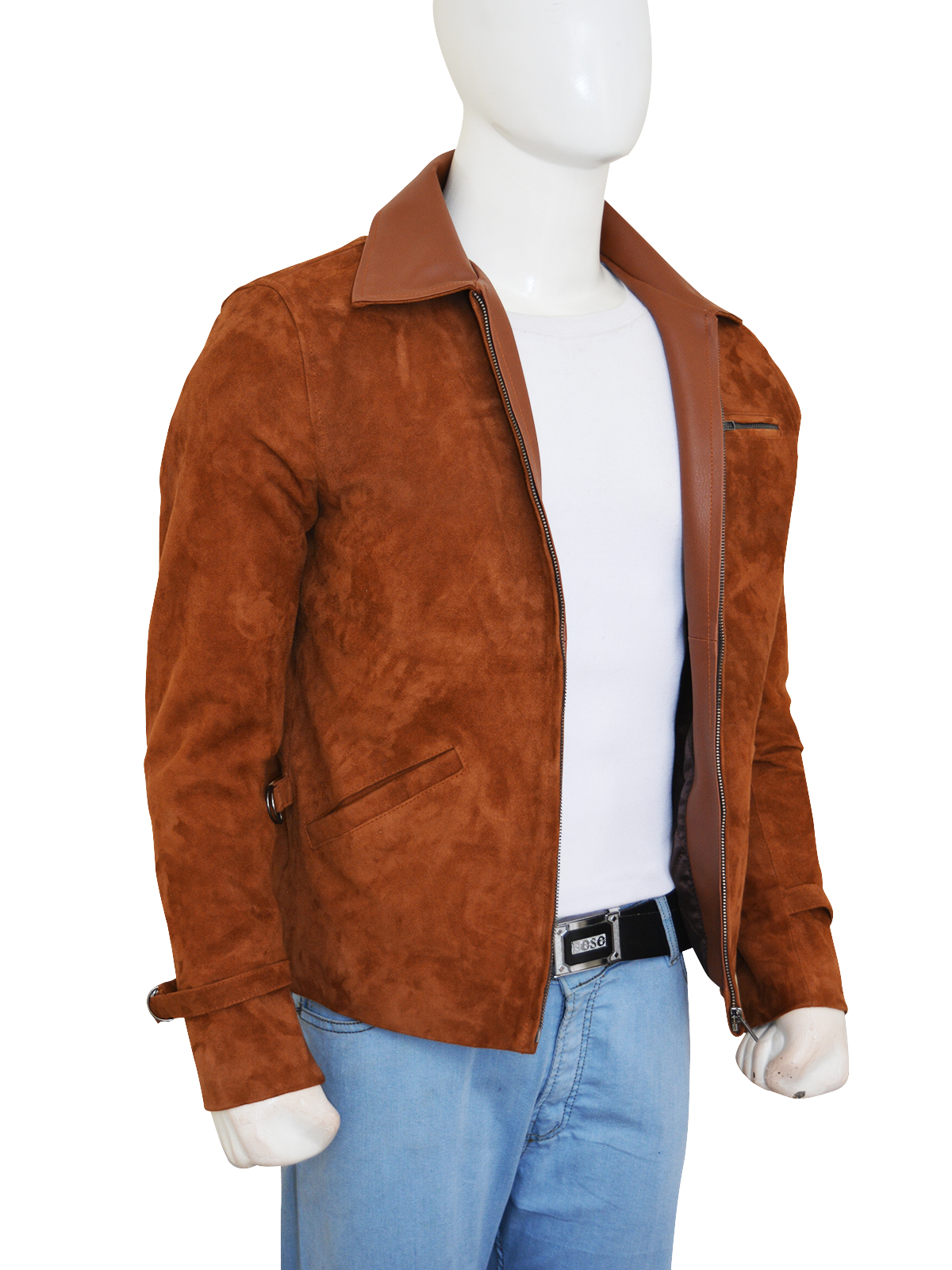 brad pitt allied suede leather jacket