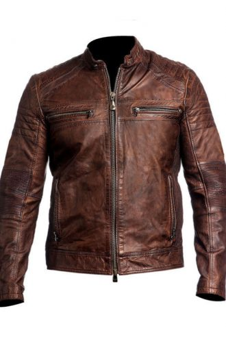 Men's Vintage Motorcycle Cafe Racer Brown Distressed Jacket