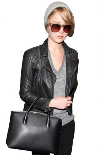Jennifer Lawrence Black Leather Jacket