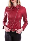 Emma Stone Red leather Jacket in La La Land