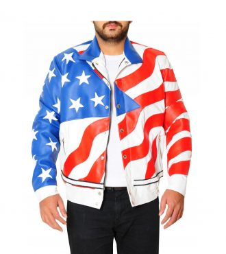 American Flag Motorcycle Leather Jacket
