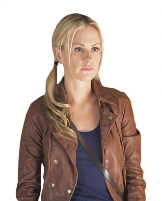 Anna Paquin True Blood Brown Leather Jacket