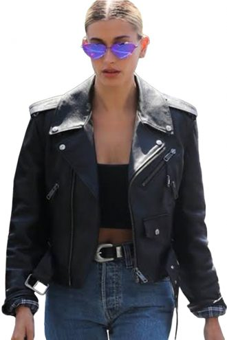 Hailey Bieber Black Leather Wife Jacket