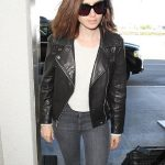Lily Collins Bold Leather Jacket