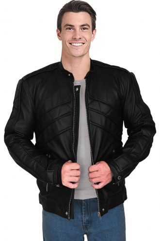 black leather jacket, zipper style