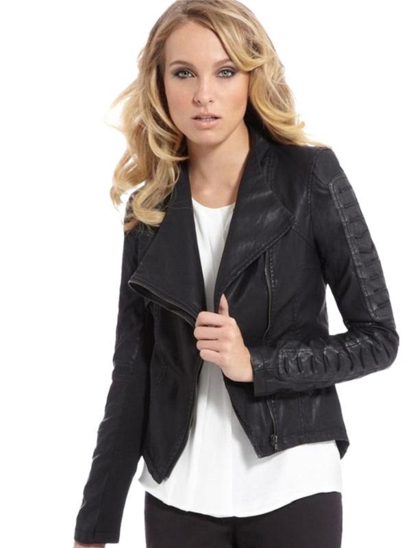 Crew neck, faux leather jacket