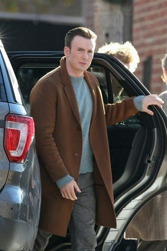 Knives Out Chris Evans wool Coat