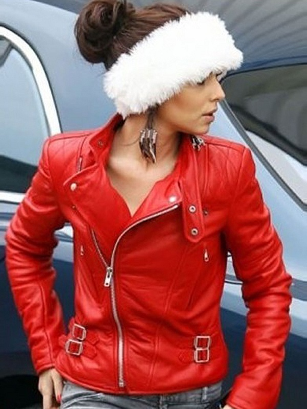 Cheryl Cole Red MotorcycleLeather Jacket