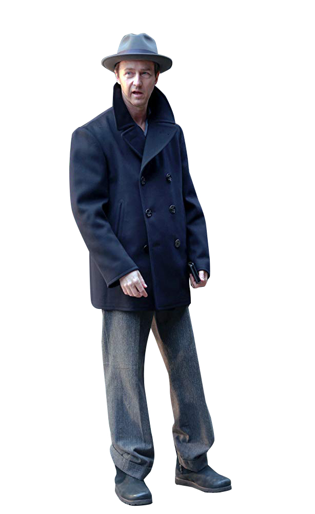 Edward Norton Brooklyn Willem Dafoe wool Coat