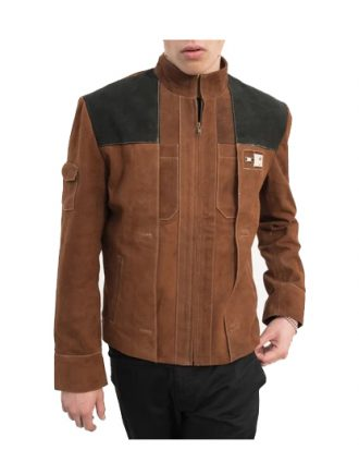 Men's Brown Ionic Design Suede Leather Jacket