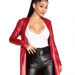 Ariana Grande Red Faux Leather Coat