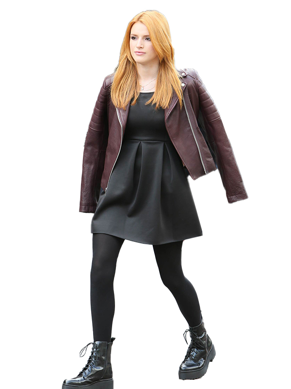 Bella Thorne Filming a Christmas Leather Jacket