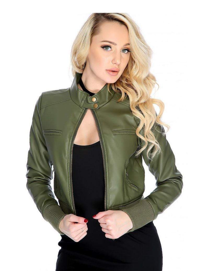 Women's Sensual Olive Ribbed Leather Jacket