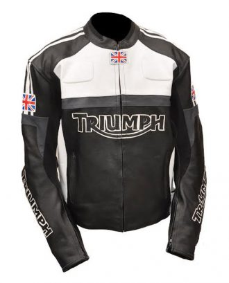Mens Triumph Biker Leather Jacket