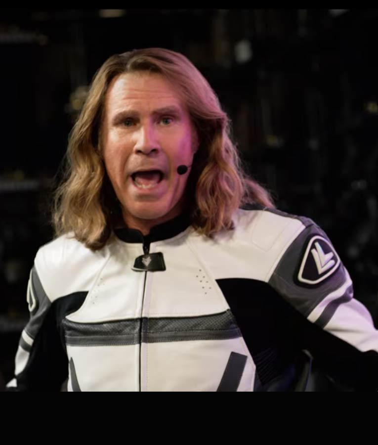 Black and White Will Ferrell Eurovision Song Contest Motorcycle Jacket